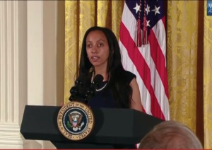 Haben introduces President Obama at the celebration of the 25th anniversary of the ADA at the White House
