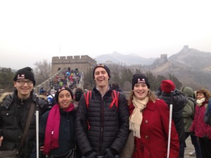 Haben, Charles, Shuang, and Tai group photo on great wall of China
