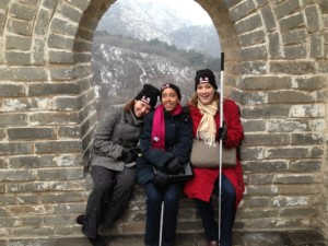 Cameron, Haben, Tai sit in window frame on great wall