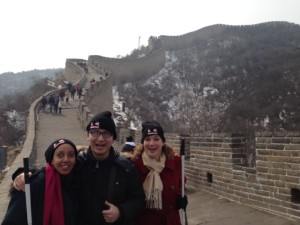 Haben, Shuang, Tai pose on great wall with wall winding in background