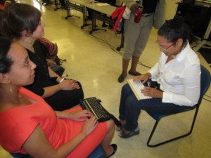 Haben speaking with a graduate student.
