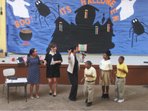 Learning Calypso with students at EBO elementary school