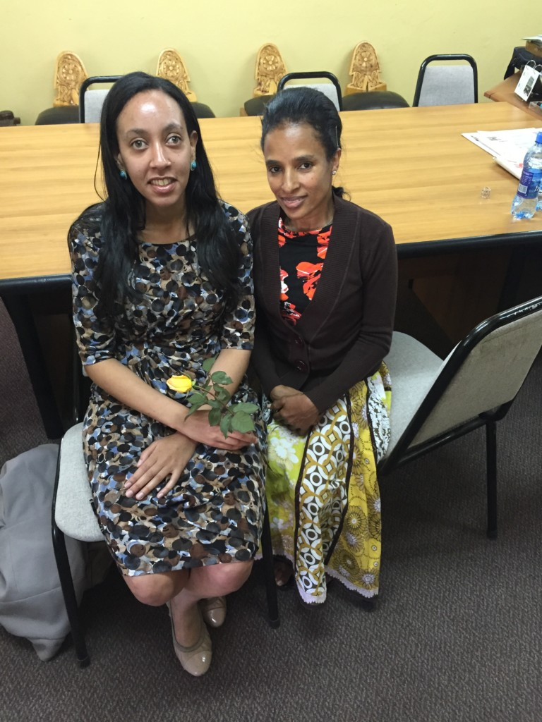 Haben with Shitaye Astawes, Executive Director of the Federation of Ethiopian National Associations of Persons with Disabilities.