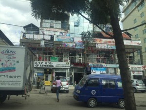 Streetside stores in downtown Addis.