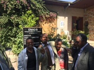 Group standing outside of the Ethiopian National Association of the DeafBlind.