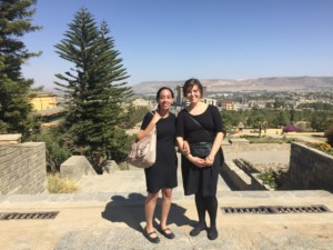 Haben and Cameron posing together near Martyrs' Monument in Mekele.