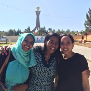 Haben and friends pose in front of Martyrs' Memorial Monument in Mekele.