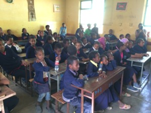 Young children sitting at their desks at the Victory School for the Deaf in Addis Ababa