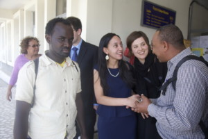 Haben greeting blind students at Addis University