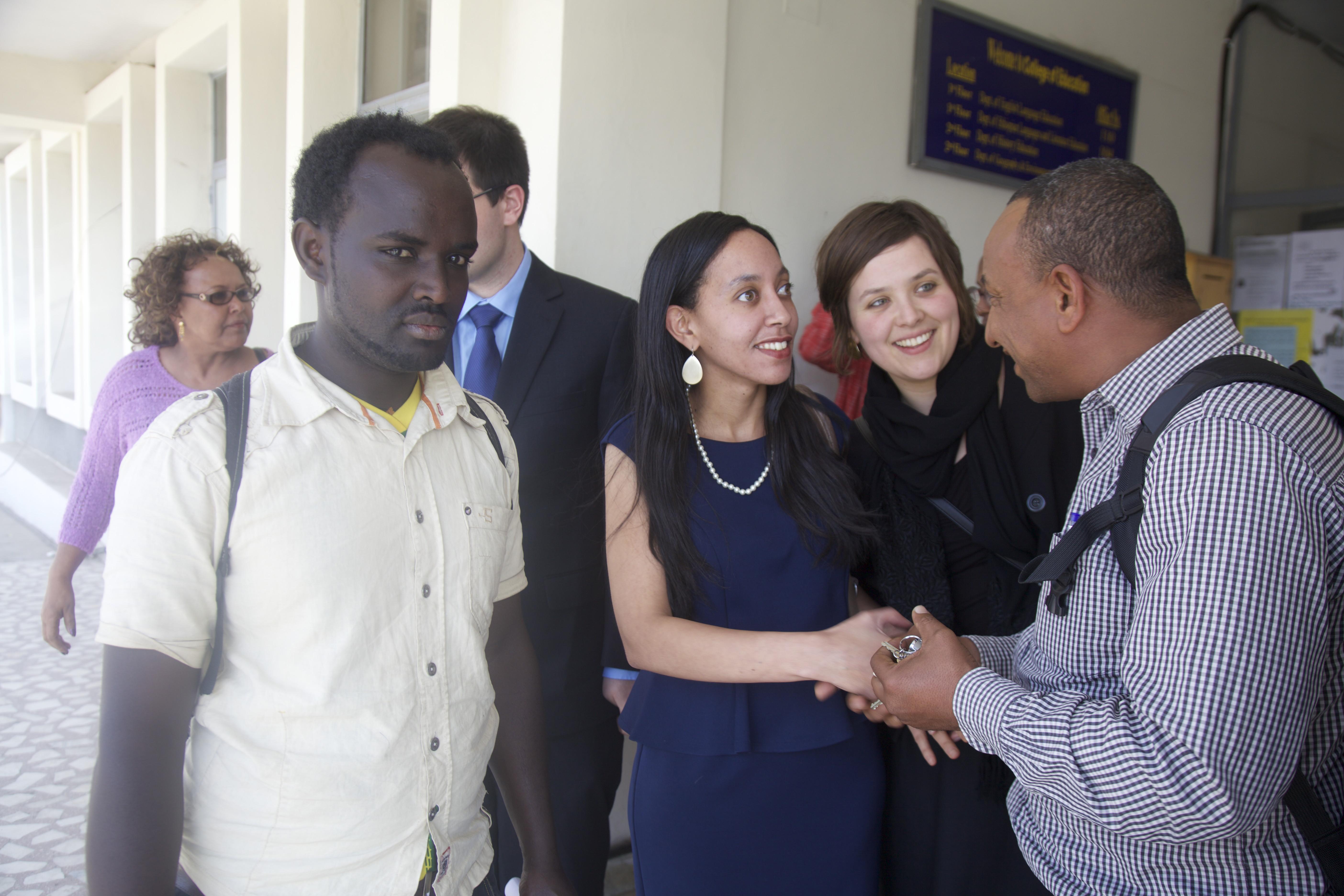 Haben greeting blind students at Addis University