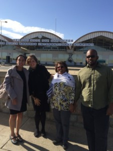 Haben and team posing in front of the Mekele airport.