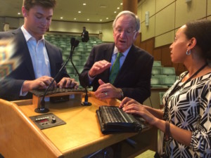 Senator Harkin speaks to Haben at the Ruderman Foundation