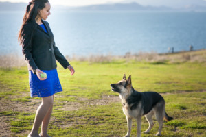 Haben playing with her German Shepherd Maxine at Berkeley Marina
