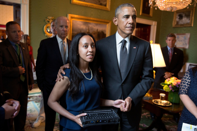 Haben and President Obama stand together at celebration of the 25th Anniversary of the ADA at the White House