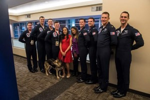 Haben and Mary stand with USAF Thunderbird pilots