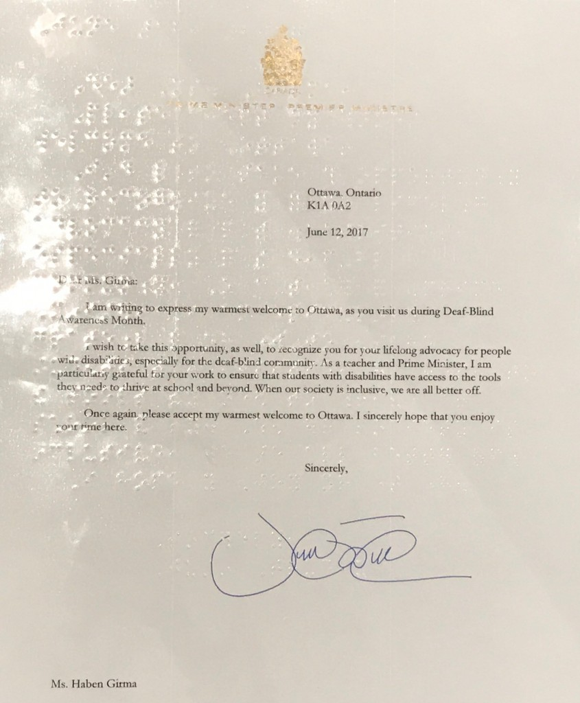 Justin Trudeau Letter with Braille