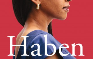 The book cover shows Haben Girma in profile, confidently facing forward in a blue dress. The background is a warm red, and white text over the bottom half of the image says, 'Haben: The Deafblind Woman Who Conquered Harvard Law. Haben Girma.'
