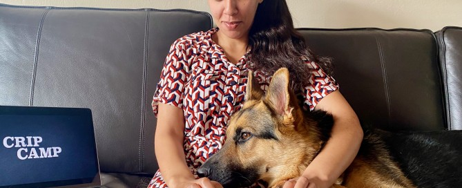 Haben is sitting on a sofa beside a laptop showing Crip Camp. Her braille computer is on her lap, as well as the head of Mister Mylo the German Shepherd who is attentively watching the screen