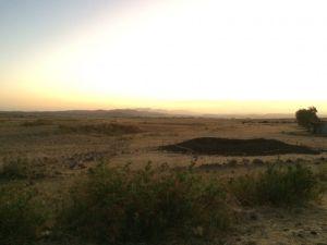 Sun setting over a field outside Mekele.