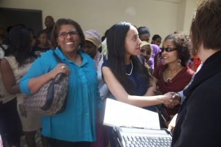 Haben meets disabled students at Addis Ababa University.