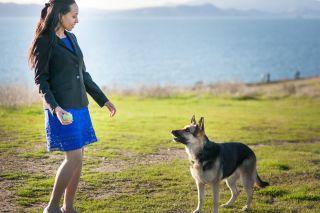 Haben playing with her German Shepherd Maxine at Berkeley Marina