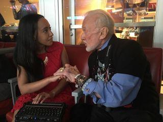Haben speaking with Buzz Aldrin at Super Bowl LI